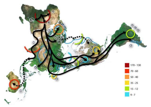 Mapa de las migraciones humanas históricas, precapitalistas