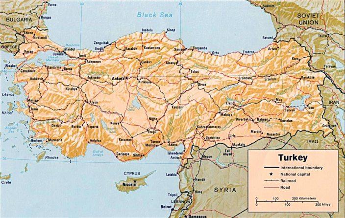 Mapa de los territorios del Estado Turco
