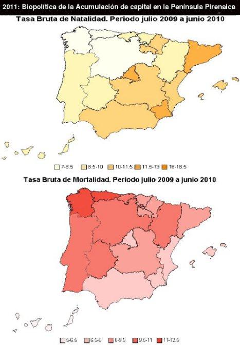 2011: tasas brutas de natalidad por naciones y comunidades autónomas, biopolitica de la acumulacion de capital en la peninsula iberica