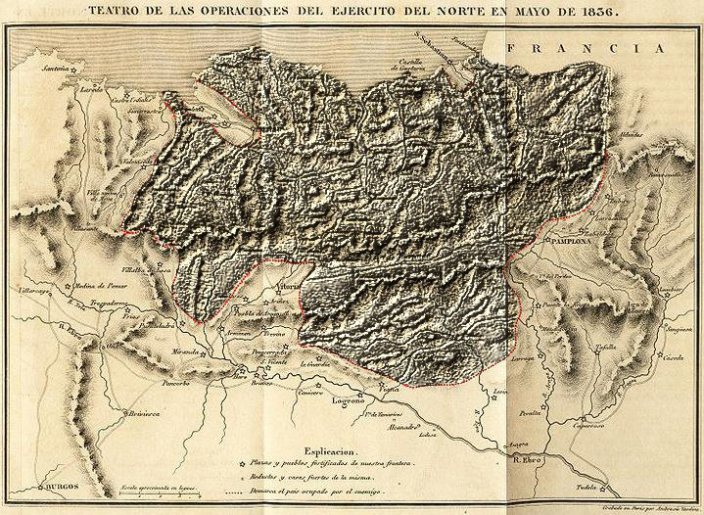 Resaltado propio sobre el famoso mapa del General Codova. Situación de la invasión de los territorios vascos por parte del Ejército Liberal Español con apoyo inglés, en 1836.